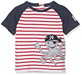 SALT AND PEPPER Baby-Jungen B Pirat Stripe Krake T-Shirt, Rot (Red 358), 74