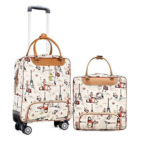 Adlereyire Trolley Bag 55 Liters,Lightweight and Waterproof Roller Bag Holdall with Wheels Functional Cabin Luggage Bag for Laptops up to 17' (Color : C, Size : Set)