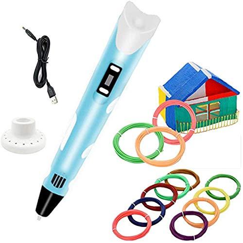 NOTENS 3D Stift mit 12er-Set PLA-Filament-Material, USB-Stromversorgung, 3D-Zeichenstift für Kinder blau