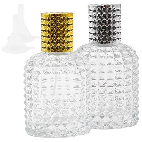 Qixuer 2 Piezas Atomizador De Perfume De Vidrio,Botella de Cristal de Piña para Perfume Botella de Perfume Recargable Duradera Botella de Perfume con atomizador con Embudo
