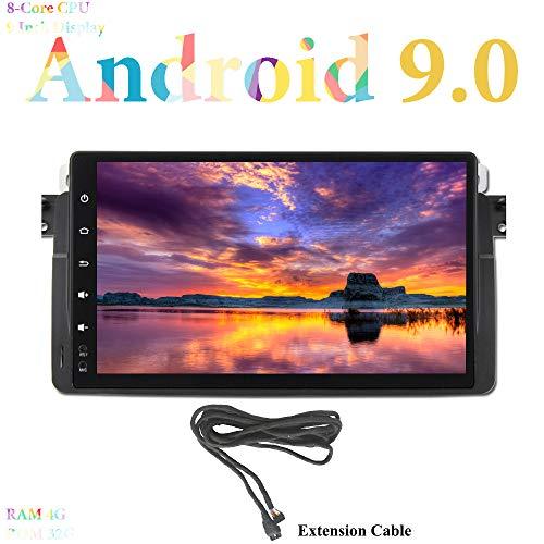XISEDO Android 9.0 Autoradio 9 Pulgadas 8-Core RAM 4G ROM 32G In Dash Radio de Coche GPS Navegaciónde para BMW 3 Series-E46/ BMW M3 (con Cable de Extensión)