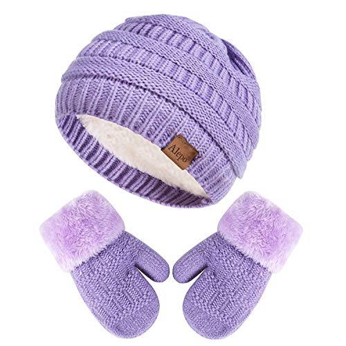 Winter Mittens Gloves Beanie Hat Set for Kids Baby Toddler Children, Knit Thick Warm Fleece Lined Thermal Set for Boy Girl (Purple)