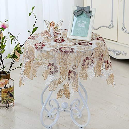 RONGER Mantel Bordado Retro De Lujo Mantel De Decoración De Encaje Rectangular Cubierta De Mesa Redonda Textil Boda Banquete Hotel Decoración del Hogar (Red,90 * 90cm)