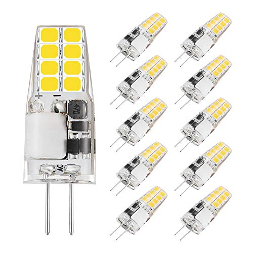 Bombilla de luz LED G4, mini cápsulas de AHEVO G4, 3W, reemplazo de bombillas halógenas de 20W-30W, blanco cálido (3000K, 10 piezas)