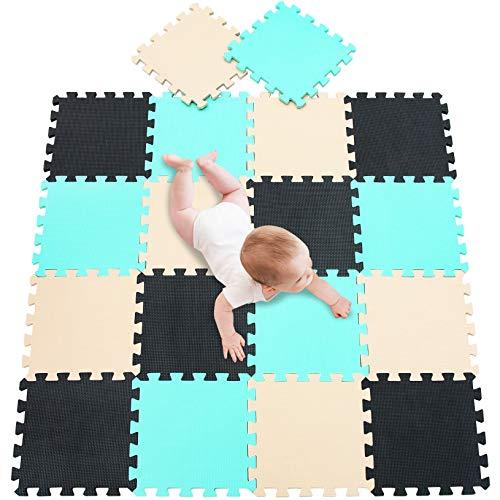 meiqicool Puzzlematte für Babys und Kinder, Spielteppich Spielmatte Lernteppich Kinderspielteppich Schaumstoffmatte Matte bunt,18 Stück Schwarz Türkis Beige 040810