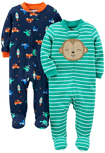 Simple Joys by Carter's Baby Boys' 2-Pack Cotton Footed Sleep and Play, Monkey/Vehicles, Newborn