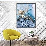 ganlanshu Pintura de Lienzo Acuarela Abstracta caligrafía mármol póster e Imagen Mural para Sala de Estar decoración del hogar,Pintura sin Marco,30x41cm