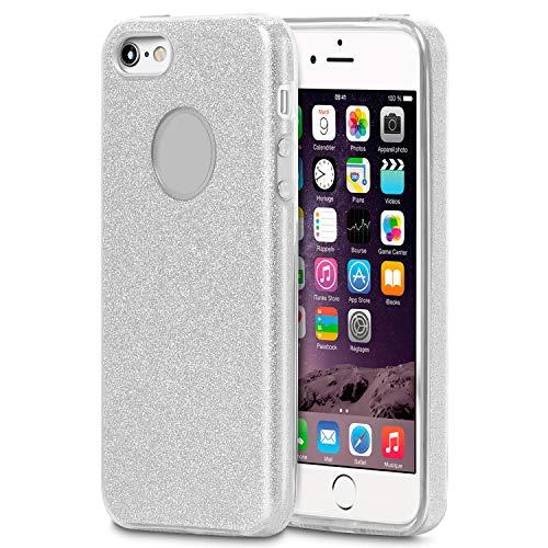 Zilveren hoesje voor Apple iPhone 5 / 5s / SE | Glanzende bling bag | Ultradun |