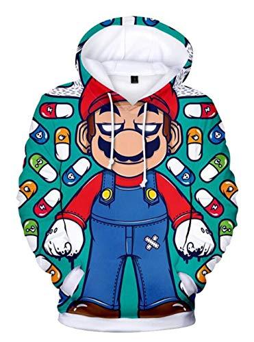 NBTOP Sudaderas con Capucha Impresión Digital 3D Mario Dibujos Animados Anime Cuello Redondo Jersey Suéter Bolsillo Canguro Lindo Moda Sudadera Novedad Sudadera con Capucha