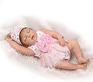 "Realistic Reborn Baby Dolls Girl 22\"" Lifelike Full Silicone Body Sleeping Washable Toy Doll Handmade Anatomically Correct..."
