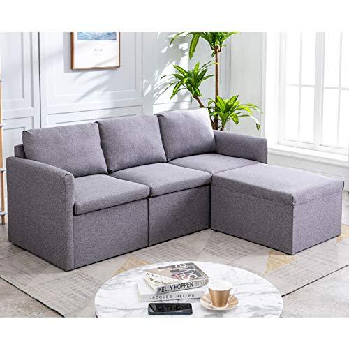 belupai Sofá esquinero de 3 plazas, sofá izquierdo o derecho, sofá de tela en forma de L, con sofá otomano Morden para sala de estar, color gris oscuro