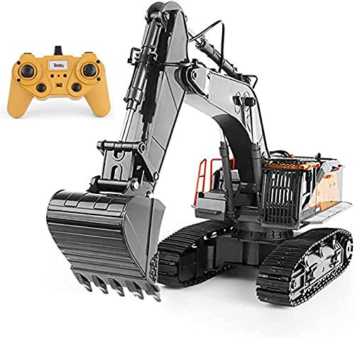 yanzz RC Excavator, 1:14 Scale Remote Control Trucks, Full Functional Alloy Construction Drill Digger Truck Toy for Adults 2.4Ghz Powerful 12 Year Old Boys Girl Games and Toys
