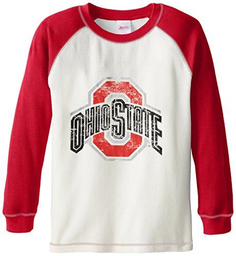 Kid Sport NCAA Ohio State Buckeyes Waffel-Langarm-Raglanärmel, Jungen, rot, 14-16