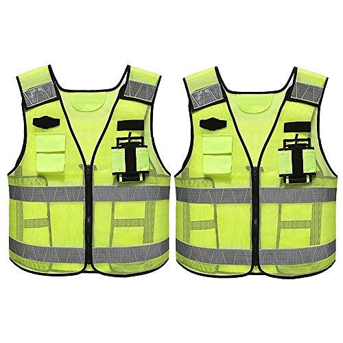 Yunding Chaleco de seguridad reflectante de alta visibilidad, chaleco táctico, construcción de policía de tráfico, servicio pesado, con múltiples bolsillos premium, para la noche al aire libre(paquete