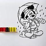 Anime dibujos animados ratón tatuajes de pared habitación de bebé jardín de infantes dormitorio vinilo pegatinas de pared hogar arte de la pared regalo de los niños dibujos animados paraguas mural