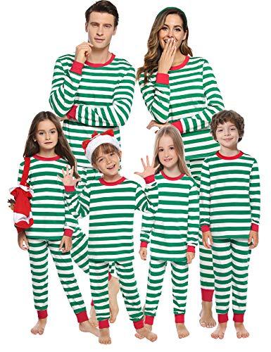 Aibrou Pijamas Navidad Familia Conjunto Algodón,Raya