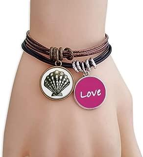 Scallop Marine Life Black Illustration Love Bracelet Leather Rope Wristband Couple Set