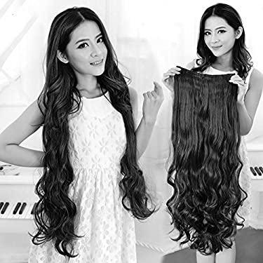 """Artifice Super Volume 200g 26"""" 5 Clips Based Curly/Wavy Synthetic Fibre Hair Extension (Natural Black)"""