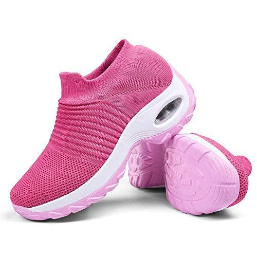 Women's Walking Shoes Sock Sneakers - Mesh Slip On Air Cushion Lady Girls Modern Jazz Dance Easy Shoes Platform Loafers Pink,7