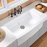 VAPSINT 33 inch Procelain Apron Front Fireclay White Farmhouse Sink, Single Bowl Undermount Ceramic...