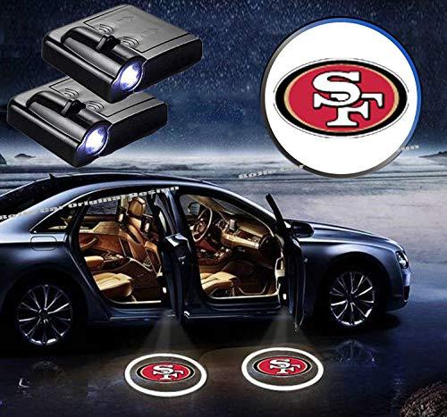 2Pcs For San Francisco 49ers Logo Car Door Led Welcome Light Car Door Courtesy Light Laser Projector Shadow Light Lamp Fit for all brands of cars. (San Francisco 49ers)