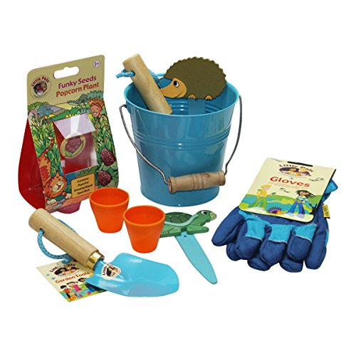 Little Pals Kids Gardening Set, Bucket of Fun, Blue, with Kids Garden Tools, Gloves and Popcorn Seeds