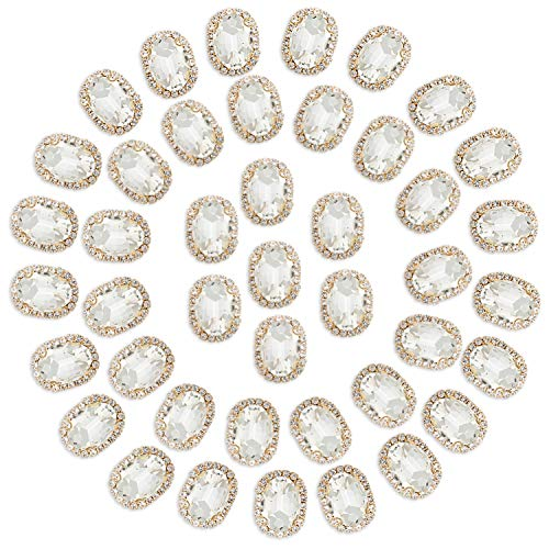 Crystal Rhinestones Sewing on, Premium Rhinestones Flatback Beads Buttons with Bling Diamonds, DIY Crafts Gems for Clothing, Bags, Shoes, Dress, Wedding Party Decoration (Clear)
