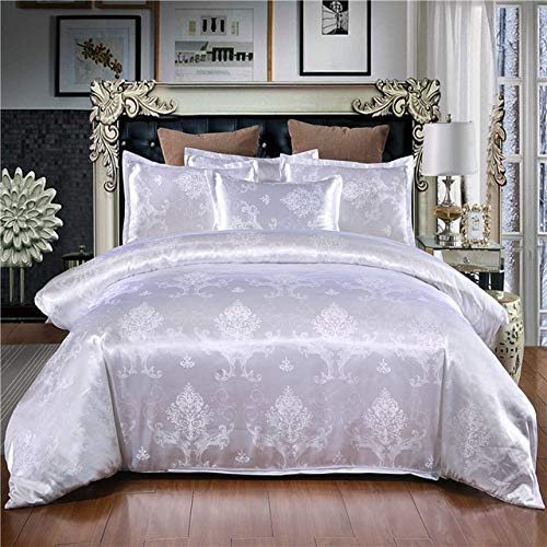 Mdsfe 2 or 3 piece bedding set, satin jacquard quilt cover, zip closure 1 quilt cover + 1/2 pillowcase - White, Single 140x210