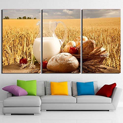 ZJMI Decoratief schilderij muur kunst canvas foto's restaurant Home uitrusting keuken HD poster 3 stuks tarwe veld brood eten schilderen geen lijst 60×90cm