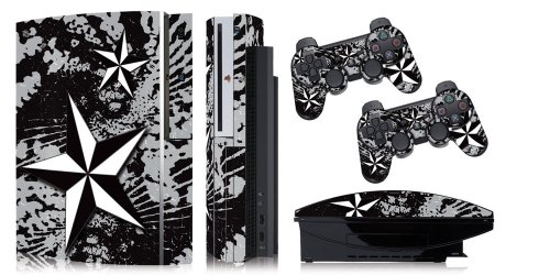 Designer skins for FAT Playstation 3 System Console, PS3 Controller skin included - NORTHSTAR SILVER