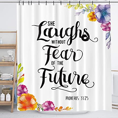 Homewelle Duschvorhang mit Bibel-Zitaten, biblische Motivation, inspirierend, 152 x 183 cm (B x L), florale Blätter, sie lachen, lustig, positiv, 12 Stück