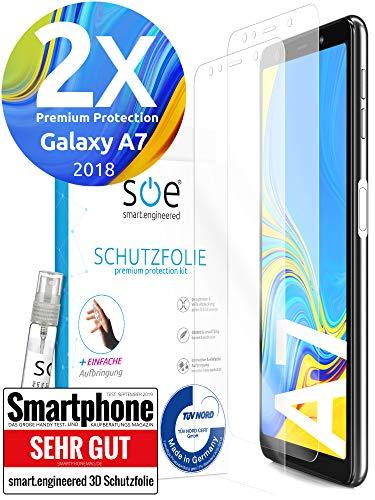 [2 Stück] 3D Schutzfolien kompatibel mit Samsung Galaxy A7 (2018) [Made in Germany - TÜV] HD Bildschirmschutz-Folie - Hüllenfre&lich – Transparent – kein Schutz-Glas sondern Panzer-Folie TPU