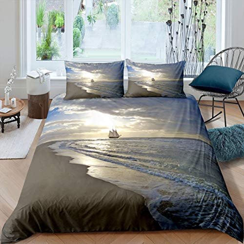 Nautical Duvet Cover Set, Retro Sailboat Comforter Cover, Ocean Bedding Set, Beach and Sunset Scene Bedspread Cover with Corner Ties for Kids Teens (1 Duvet Cover with 2 Pillow Cases) King Size