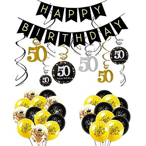 INTVN 50. Geburtstag Swirl Spiralen 50-jähriges Geburtstags Party Dekorationen 50 Jahren Banner mit 50. Folie hängende Wirbel Zahl Drucken und Konfetti-Ballons Party Gefälligkeiten für Erwachsene