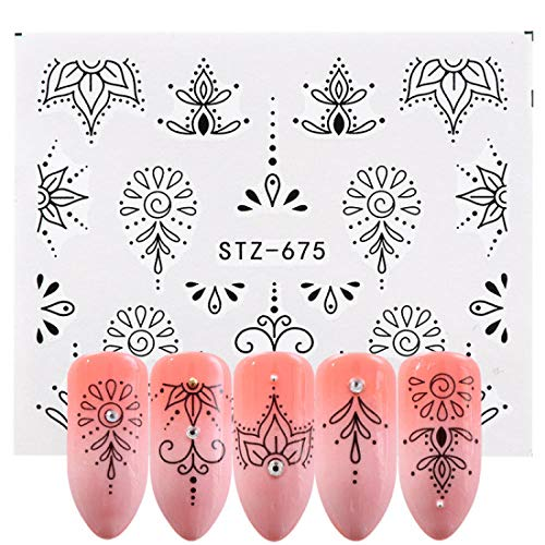 Pegatina de uñas,Pegatinas de uñas de vid de flores, decoraciones de encaje negro Calcomanías de transferencia de agua Nail Art Manicure Sliders 2pcs, Z19-B