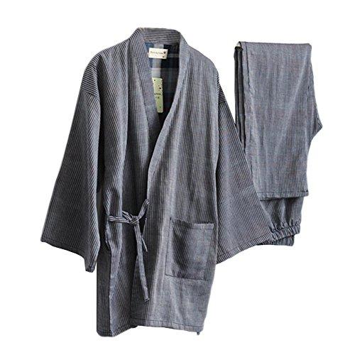 Fancy Pumpkin Traje de Pijama de Kimono de Gasa de Estilo japonés para Hombre de Estilo japonés- # A02