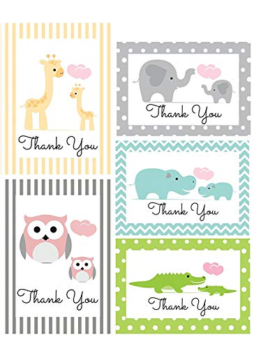 Thank You Cards for Baby, Shower, Kids - Jungle Animal Safari - Assorted Bulk, 50 Note Card Boxed Set, Blank Inside with White Envelopes - Made in The USA