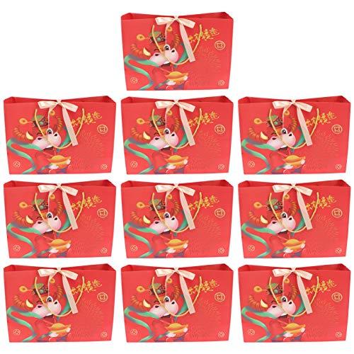 Cabilock 10 peças de sacos de papel vermelho com alças e laços de fita, bolsa de lembrancinha de festa de ano novo lunar chinês, 36 x 25 cm para ano de boi primavera festival sorte