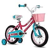 CYCMOTO 16' Kids Bike with Basket, Hand Brake & Training Wheels for 4 5 6 Years Girls, Toddler Bicycle Pink