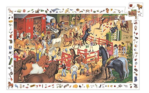 Djeco  Horse Riding P Juego de Rompecabezas con los Caballos en la Granja, Multicolor (DJ07454)