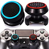 Playrealm FPS Thumbstick Extender & Printing Rubber Silicone Grip Cover 2 Sets for PS5 Dualsenese & PS4 Controller (Black Red+Blue)