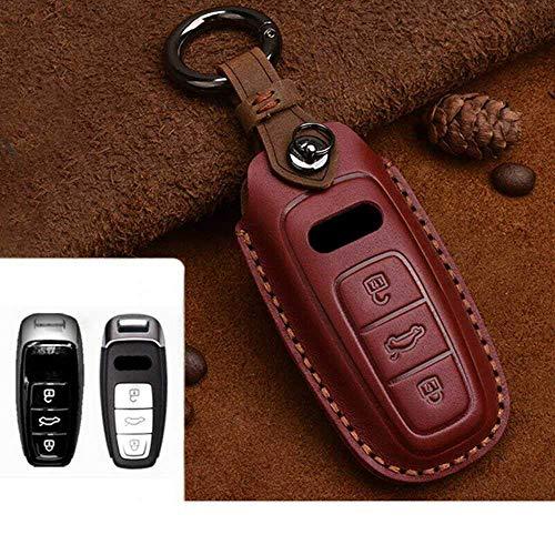 Cubierta de la llave del COCHE, Carcasa de cuero con estilo para el COCHE, para Audi A1 A3 A4 A5 Q7 A6 C5 C6 Carcasa del soporte del COCHE Cubierta remota Llavero con estilo de COCHE Rojo-b