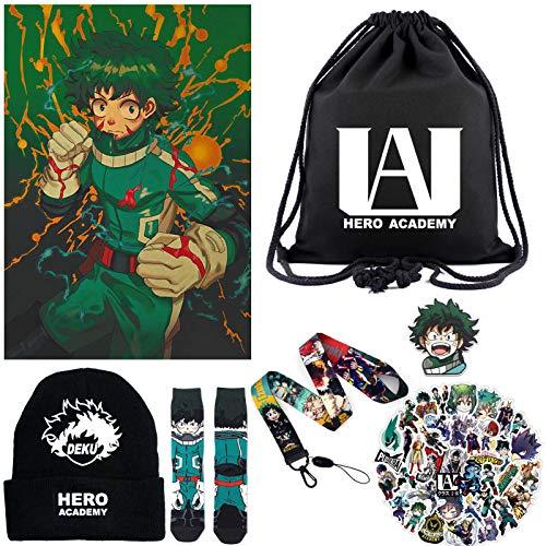 Saicowordist Anime My Hero Academia - Juego de regalo, incluye 1 mochila con cordón, 1 sombrero de punto, 50 pegatinas, 1 póster vintage, 1 par de calcetines, 1 parche bordado, 1 cordón