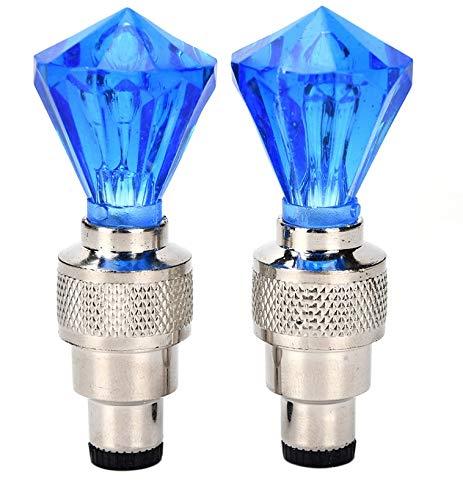Kangfang-Ge, 2019 2 x diamant vorm ventieldoppen LED licht auto motorfiets banden gas-muizen lampen Blauw