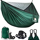 Covacure Camping Hammock - Lightweight Double Hammock, Hold Up to 772lbs, Portable Hammocks for Indoor, Outdoor, Hiking, Camping, Backpacking, Travel, Backyard, Beach(Dark Green)