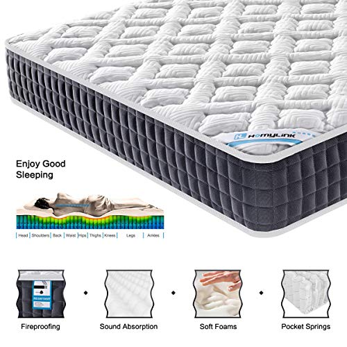 HomyLink 5FT King Size Mattress Pocket Sprung Memory Foam 9-Zone Orthopaedic 23.5cm Height 3D Breathable Knitting Fabric
