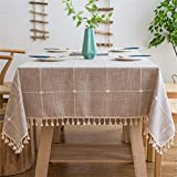 Vonabem Table Cloth Tassel Cotton Linen Table Cover for Kitchen Dinning Wrinkle Free Table Cloths Rectangle/Oblong (58''x86'', 6-8 Seats, Light Brown)