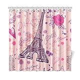 Decoración para el hogar Cortina de baño Dibujado a mano Retro Torre Eiffel de París Tejido de poliéster Impermeable Cortina de ducha para baño, 72 x 72 pulgadas Cortinas de ducha Ganchos incluidos