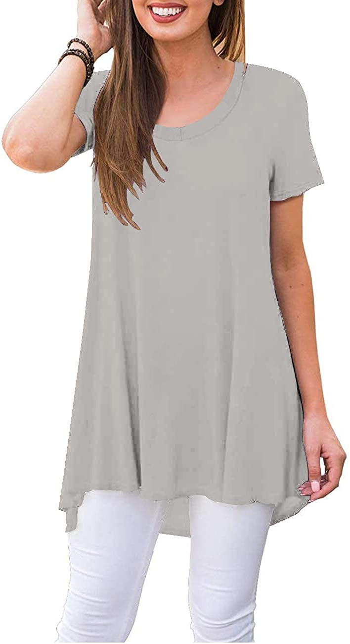 Aksbgg Women's Short Sleeve Round Neck Loose Flowy Swing Summer Tunic Top Blouse Shirts