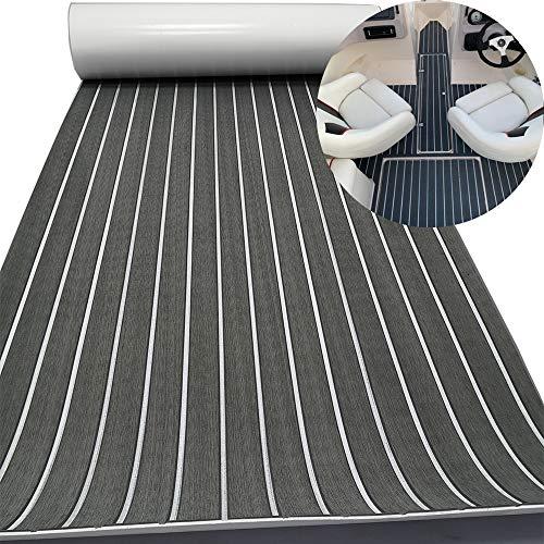 Yuanjiasheng - Hoja de teca sintética EVA para cubierta de barco y yate, antideslizante y autoadhesiva, bordes biselados de 94.5 x...